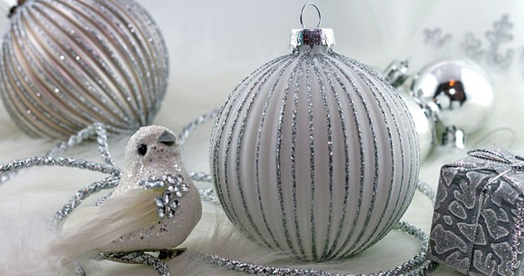 silver bird and bauble christmas decorations