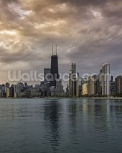 Chicago Sunrise Skyline wallpaper mural thumbnail