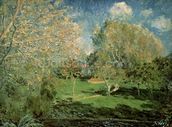 The Garden of Hoschede Family, 1881 (oil on canvas) wall mural thumbnail
