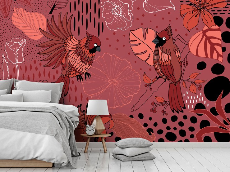 pink bird wallpaper in bedroom by Yani Mengoni