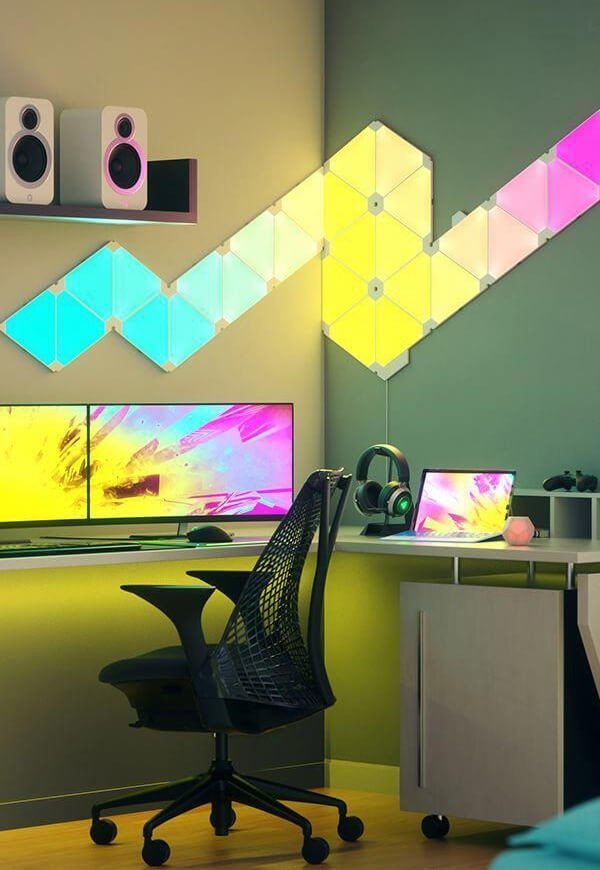 colourful light system in gaming room