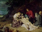 Lamentation over the Dead Christ with St. John and the Holy Women, 1614 (oil on panel) wallpaper mural thumbnail