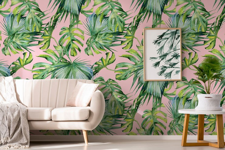 palm leaf and pink wallpaper in on trend lounge