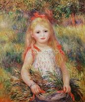 Little Girl Carrying Flowers, or The Little Gleaner, 1888 (oil on canvas) mural wallpaper thumbnail