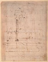 Design for the tomb of Pope Julius II (1453-1513) (brown ink on paper) (verso) mural wallpaper thumbnail