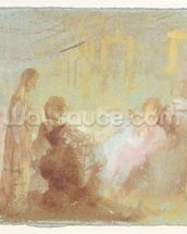 Interior at Petworth House with people in conversation, 1830 (gouache) wallpaper mural thumbnail
