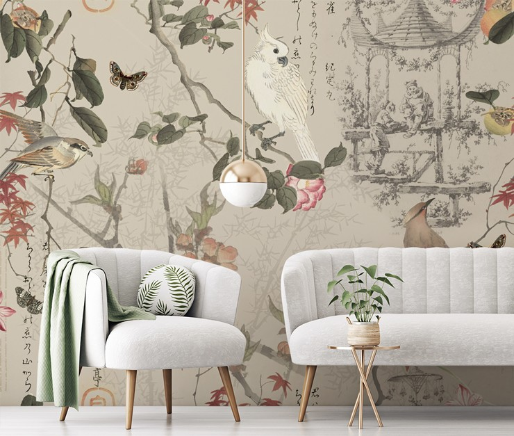 oriental wallpaper with birds and pink flowers in grey and grey chic living room