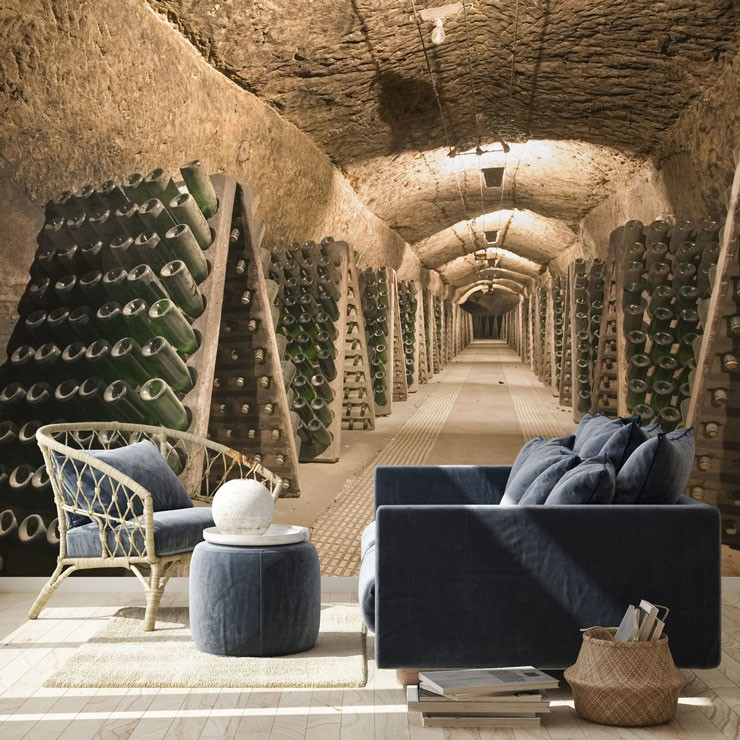 old wine cellar wallpaper in vintage style living room
