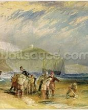 Folkestone Harbour and Coast to Devon, c.1830 (w/c and gouache on paper) mural wallpaper thumbnail