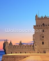 Lisbon - Tower of Belem at Sunset mural wallpaper thumbnail