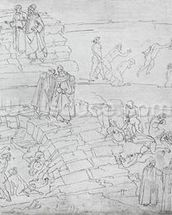 Dante and Virgil (70-19 BC) from The Divine Comedy by Dante Alighieri (1265-1321) c.1480 (pen & ink on paper) mural wallpaper thumbnail