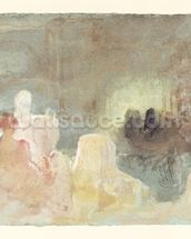Interior at Petworth with a seated woman, 1830 (w/c) mural wallpaper thumbnail