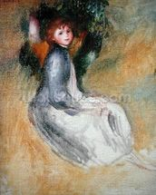 Young Girl Seated, 1885 (oil on canvas) mural wallpaper thumbnail