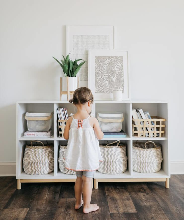 white unit with baskets storage for home classroom