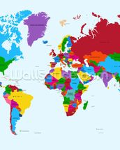 Colour Map of the World mural wallpaper thumbnail