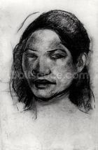 Head of a Tahitian (charcoal on paper) (b/w photo) mural wallpaper thumbnail