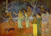 Scene from Tahitian Life, 1896 (oil on canvas) mural wallpaper thumbnail