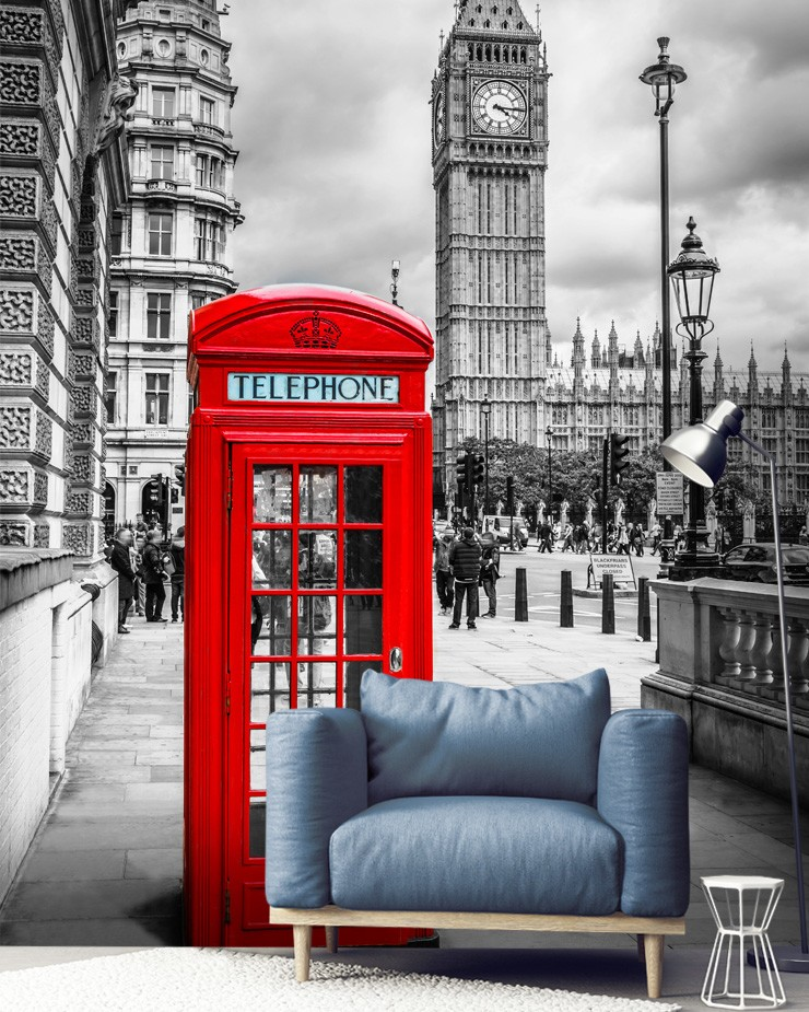 london-postbox-mural-in-living-room