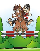 Show Jumping Cartoon wall mural thumbnail