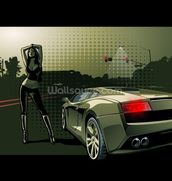 Sports Car Illustration wall mural thumbnail