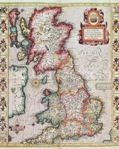 Britain As It Was Devided In The Tyme of the Englishe Saxons especially during their Heptarchy (hand coloured copper engraving) mural wallpaper thumbnail