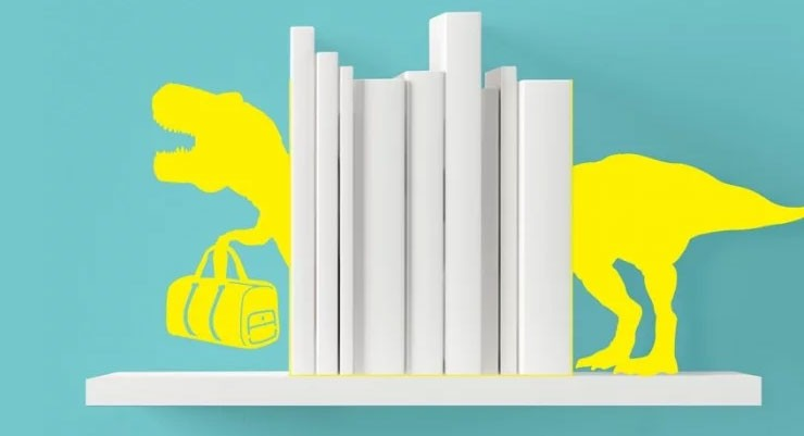 Yellow dinosaur book ends