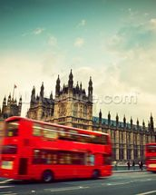 London Bus at Big Ben wallpaper mural thumbnail