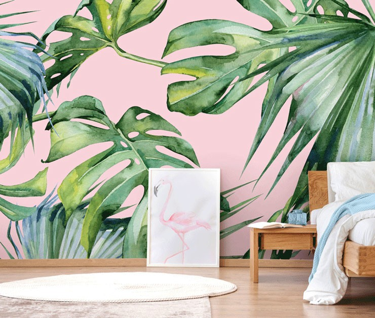 pink jungle wallpaper in bedroom