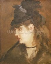 Berthe Morisot in a Black Hat (oil on canvas) wall mural thumbnail