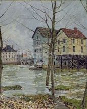 The Mills at Moret-sur-Loing, Winter, 1890 wall mural thumbnail