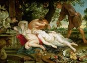 Cimon and Iphigenia, 1617 (oil on canvas) mural wallpaper thumbnail