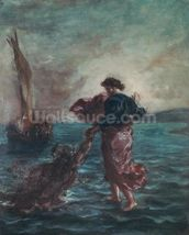 Christ walking on water and reaching out his hand to save Saint Peter (oil on canvas) wall mural thumbnail