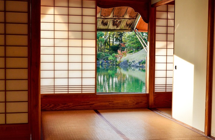 Japanese room with tatami mats and screens