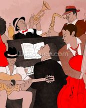Funky Jazz Band wallpaper mural thumbnail