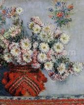 Chrysanthemums, 1878 (oil on canvas) wallpaper mural thumbnail