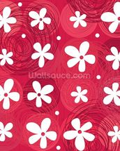 Red & White Flowers wall mural thumbnail