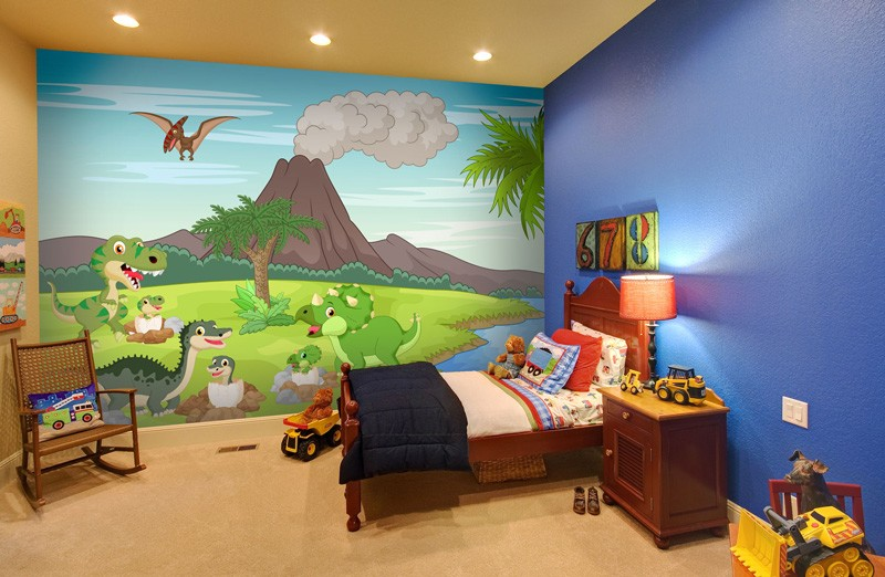 Dinosaur-wallpaper-in-yound-boy's-bedroom