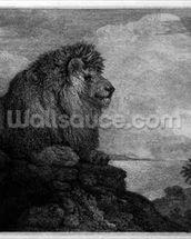 A Lion (A Lion Resting on a Rock) engraved by the artist (etching) wall mural thumbnail
