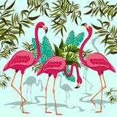Tropical Pink Flamingos mural wallpaper thumbnail