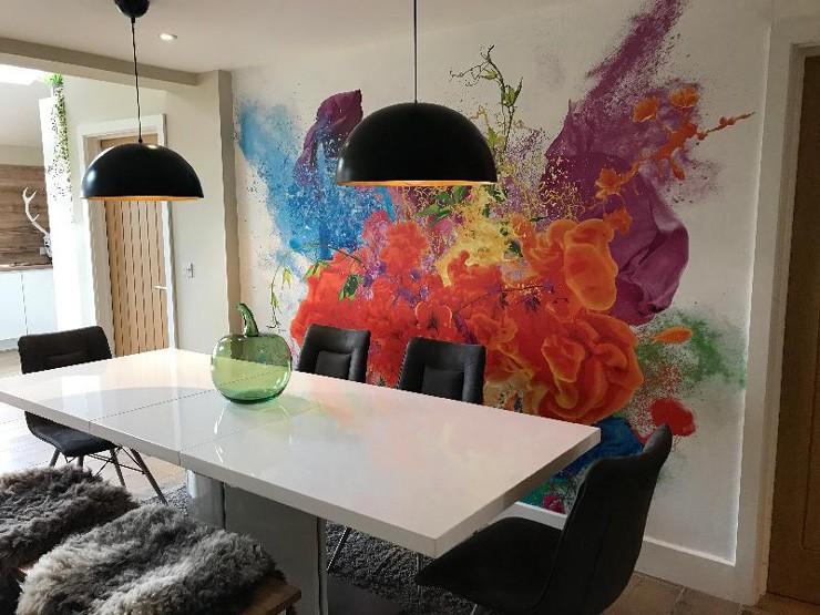 burst of colour wallpaper in trendy dining room
