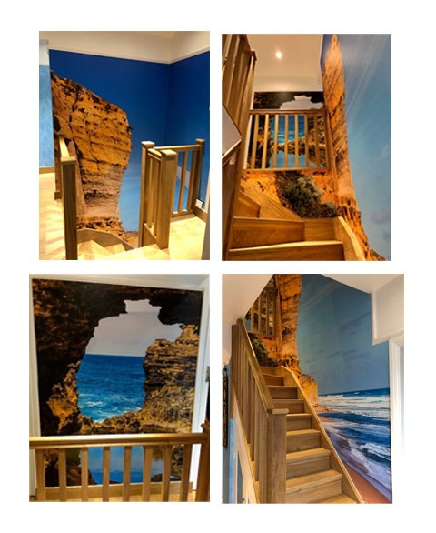 staircase with layered beach wallpaper