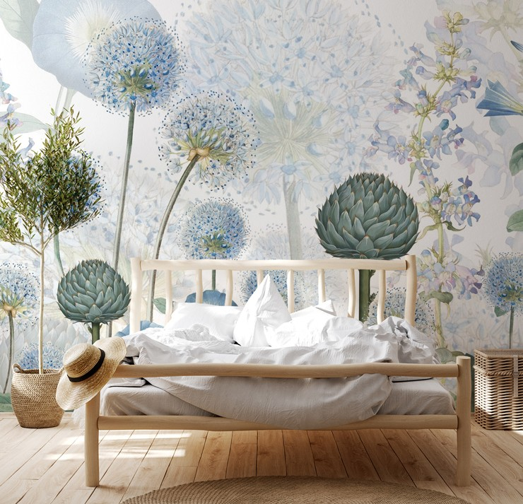 blue floral wallpaper in boho bedroom