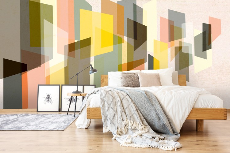 colourful abstract mural in bedroom
