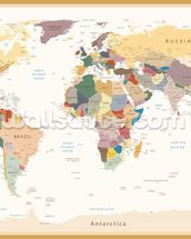 Political World Map Vintage Colours wall mural thumbnail