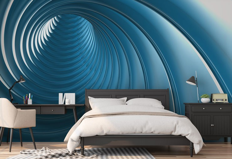 3d effect blue swirl in black and white decor bedroom