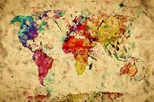 Colourful Vintage Map wallpaper mural thumbnail