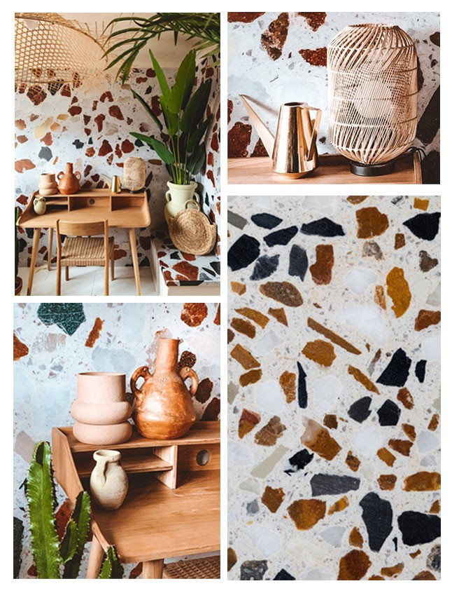 terrazzo close up and room accessories