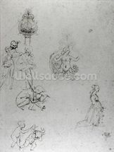 Studies of Figues and Decorations, c.1480-82 (pen & ink and metal point) wallpaper mural thumbnail