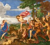Bacchus and Ariadne, 1520-23 (oil on canvas) (pre-restoration) wallpaper mural thumbnail