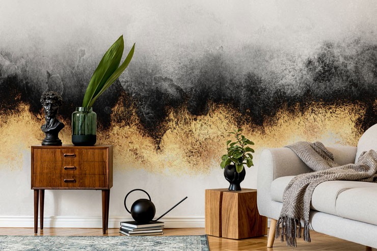 abstract black and gold misty wall